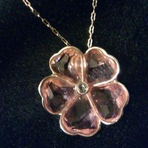 Swarovski pink heart flower necklace